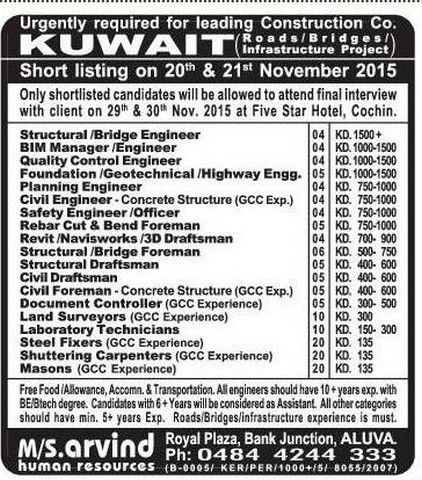 Construction Company Jobs For Kuwait Gulf Jobs For