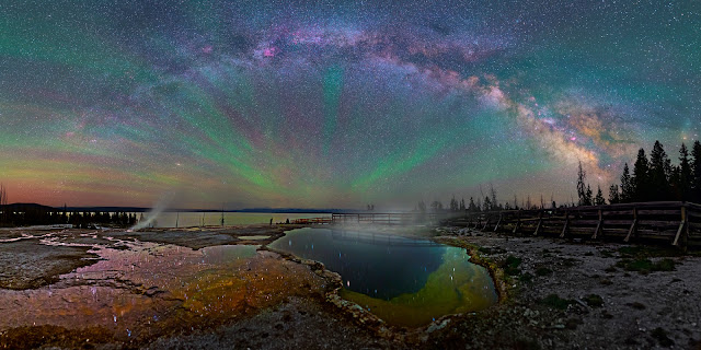 Airglow and the Milky Way Galaxy seen over Yellowstone National Park