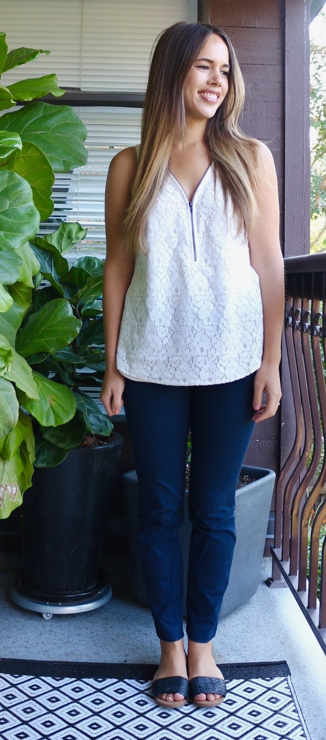 Jules in Flats July Outfits - Sleeveless Lace Blouse with Navy Pixie Pants