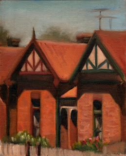 Oil painting of red brick Edwardian-era houses with gabled rooves.
