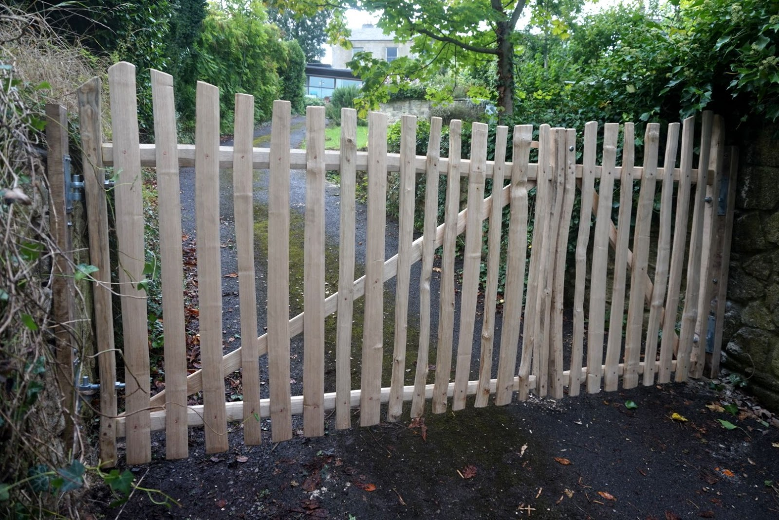 picket fence double gate. Cleft Chestnut Double Gates Picket Fence Gate