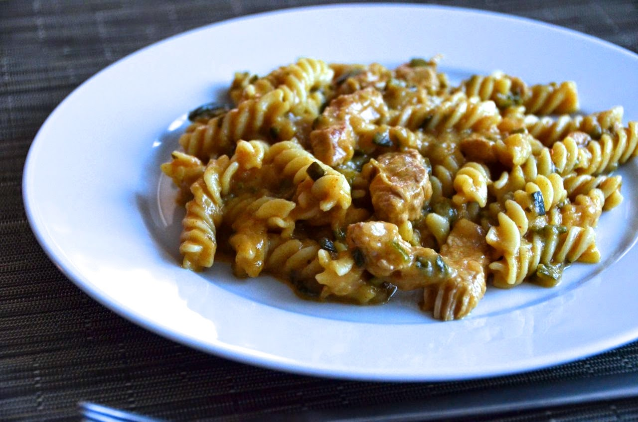 TURKEY AND COURGETTE GESCHNETZELTES WITH FUSILLI PASTA