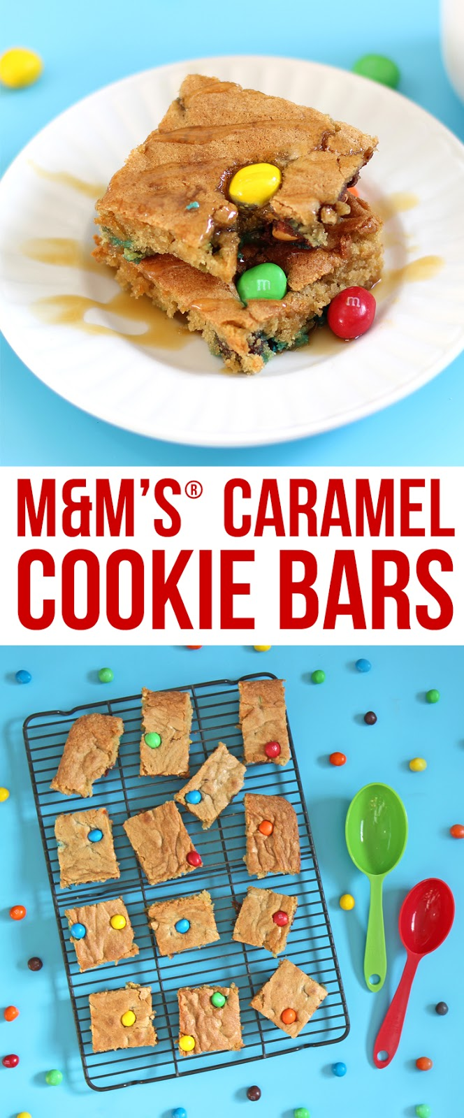 Soft and chewy caramel M&M cookie bars. The best recipe for cookie bars!