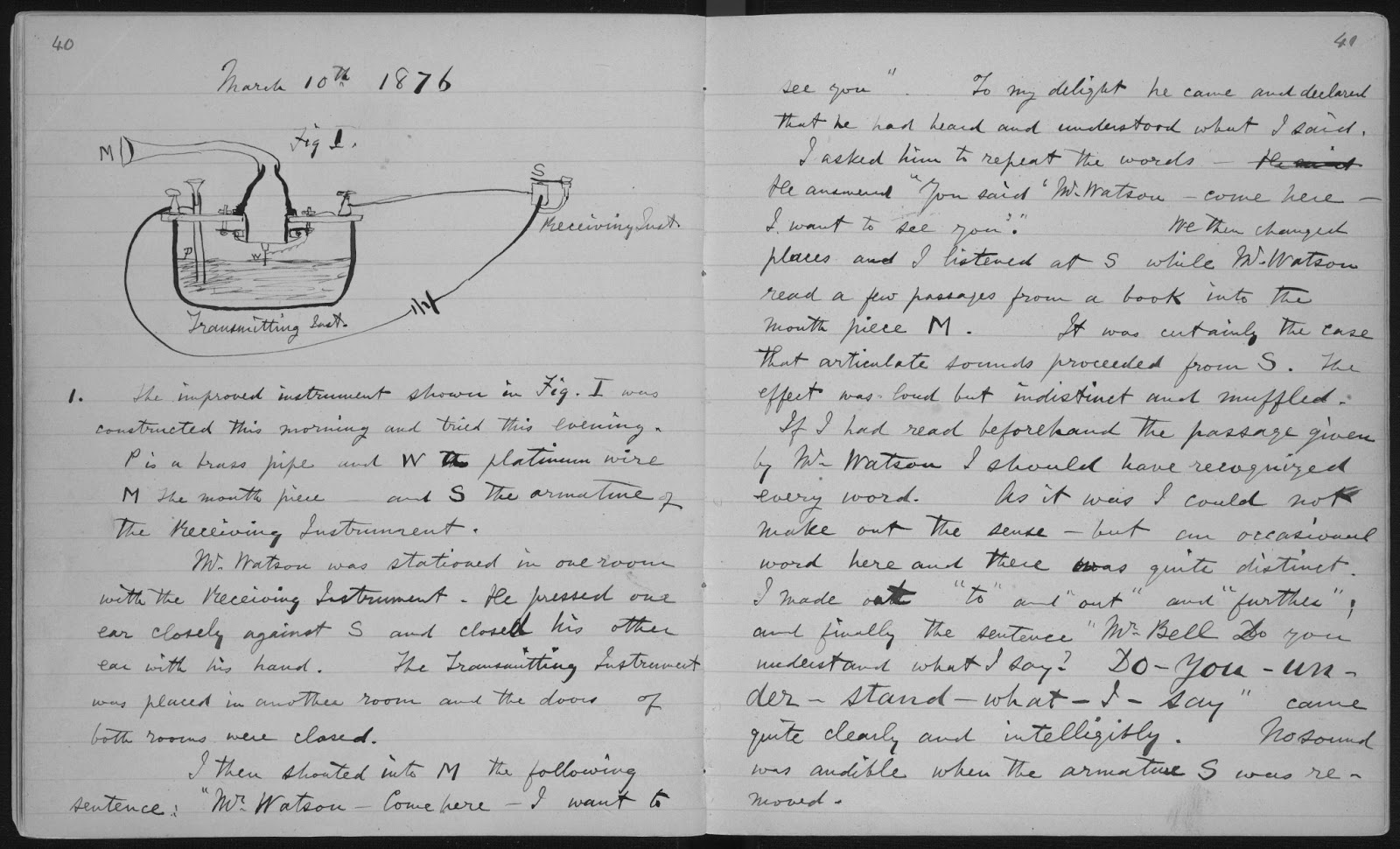 alexander graham bell bell s experimental notebook 10 1876 box 271 subject file scientific notebooks 1876 alexander graham bell family papers manuscript division