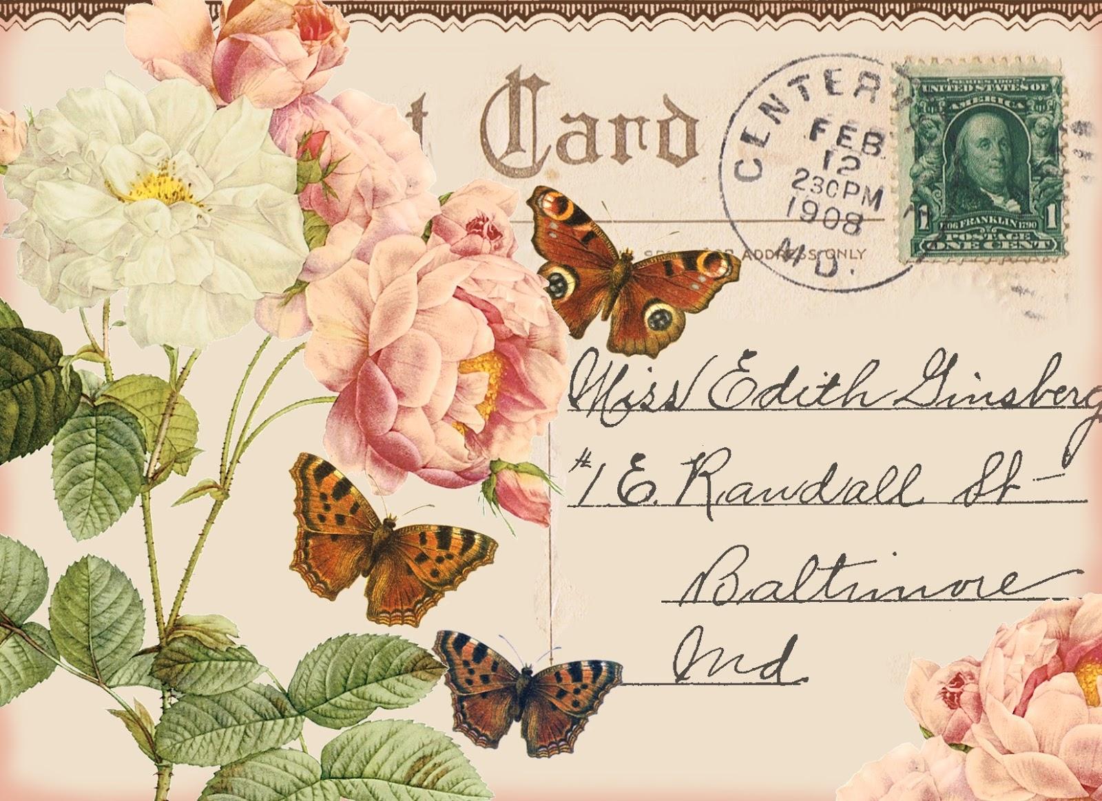 Скрапбукинг почтовая открытка