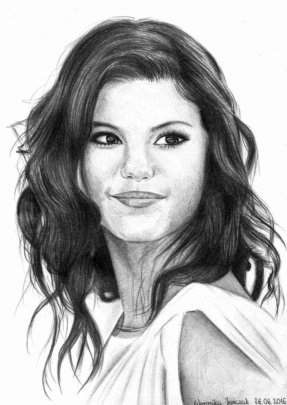 Amiluna art blog o rysowaniu portrety selena gomez - Selena gomez dessin ...