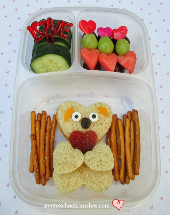 valentines lunch, bear bento school lunch