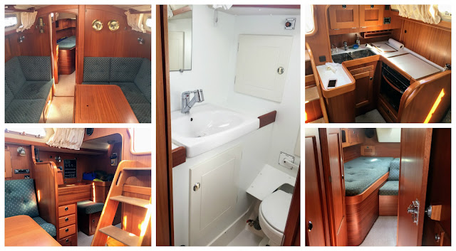 Hallberg-Rassy 37 sailboat interior mahogany teak head galley
