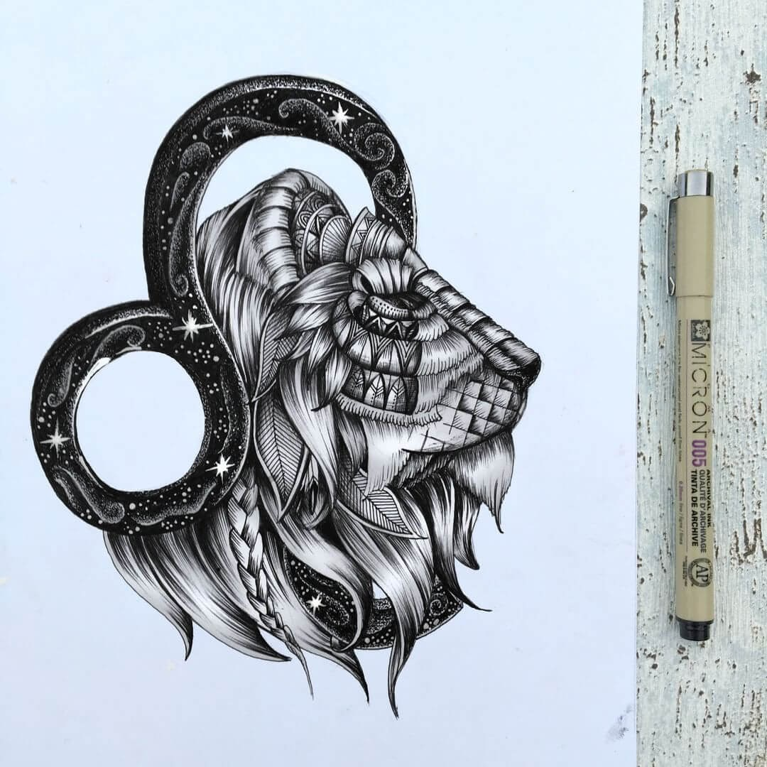 01-Leo-Zodiac-Lion-Faye-Halliday-Animals-with-Zentangle-Detailing-www-designstack-co