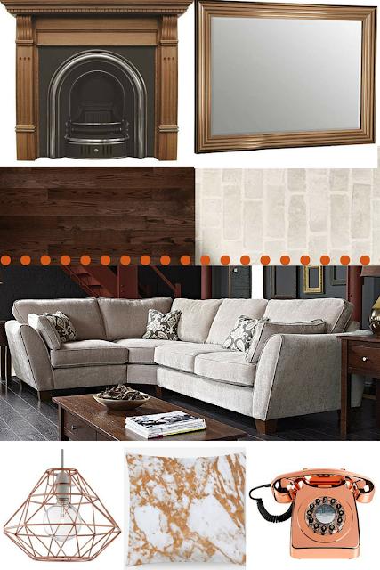 copper dark wood interior living room design