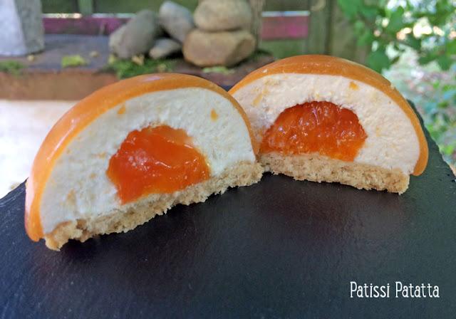 recette de dômes nectarines et abricots, dômes aux fruits de l'été, dômes entremet nectarines, nectarine, abricots romarin, shortbreads, sablés écossais, nectarines et abricots au romarin, dessert frais, patissi-patatta