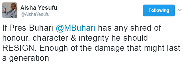 If Pres Buhari has any shred of honour, character & integrity he should resign- BBOG co-convener, Aisha Yesufu, says Babachir