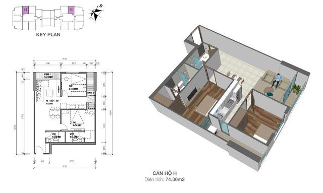 Mặt bằng căn hộ 74,3 m2 chung cư Eco Dream City