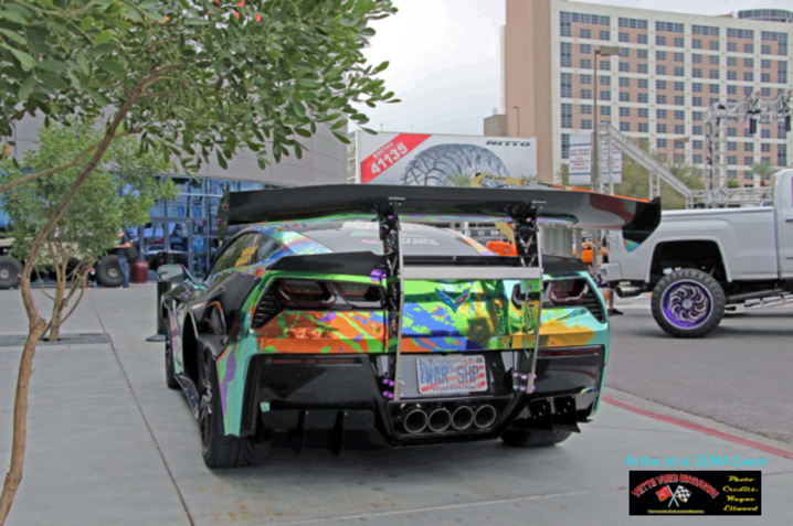Rear shot of VetteSthetics widebody Corvette at the 2016 SEMA event.