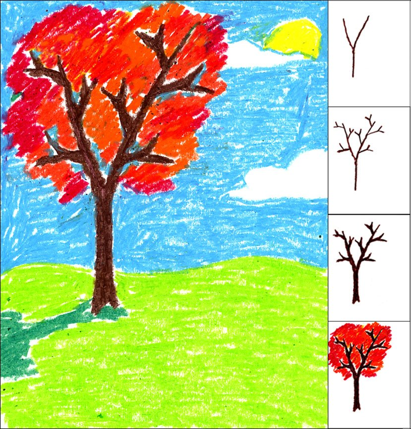 Fall Oil Pastel Tree   Art Projects for Kids