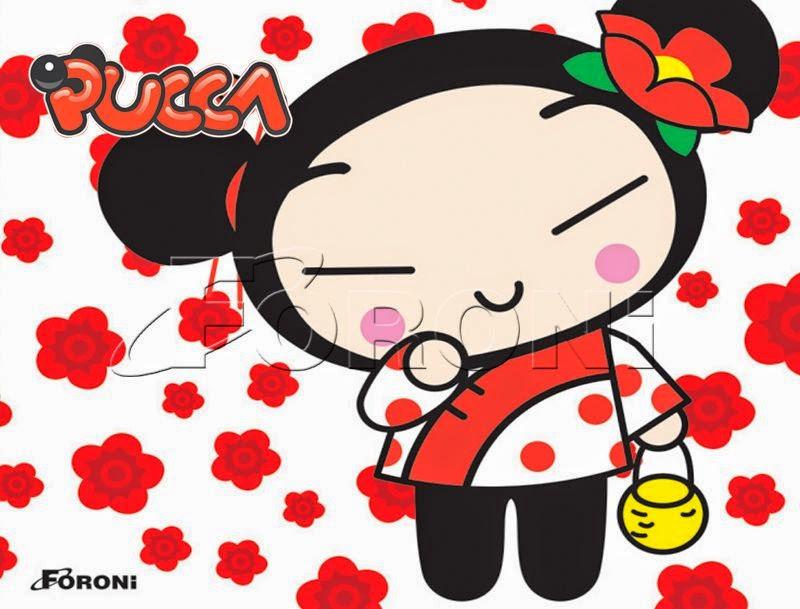 Para hacer invitaciones, tarjetas, marcos de fotos o etiquetas, para imprimir gratis de Pucca con Flores.
