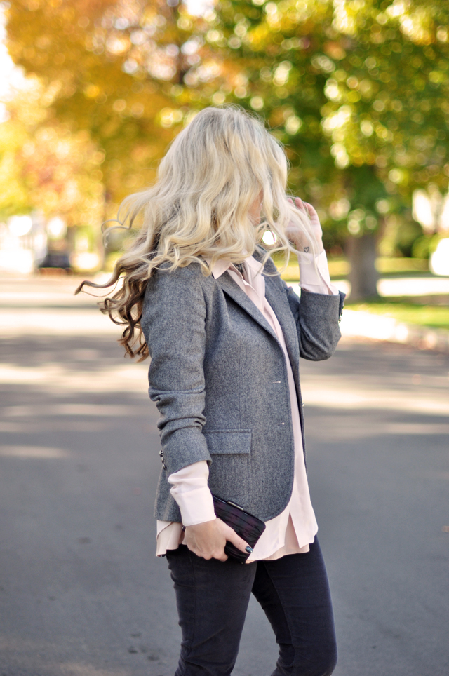 long waved hair, cords and a blazer