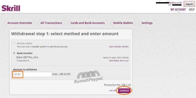 cara withdraw tarik uang dari skrill ke rekening bank 2