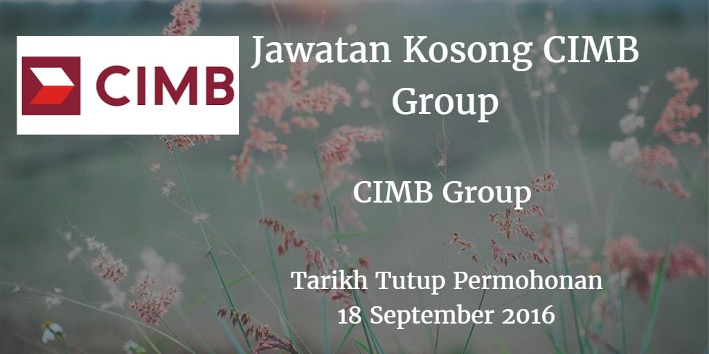 Jawatan Kosong CIMB Group 18 September 2016