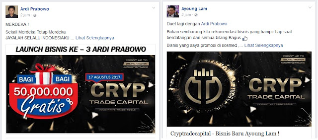Ardi Prabowo dan Ayoung Lam Daftar Cryptrade