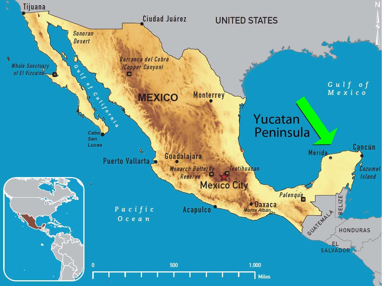 Yucatan Peninsula Map Yucatan Peninsula On World Map ~ AFP CV Yucatan Peninsula Map