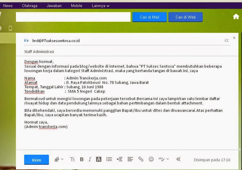 Panduan Cara Mengirim Lamaran kerja Melalui Email  Berita Transkerja  Inovatif, Kreatif dan