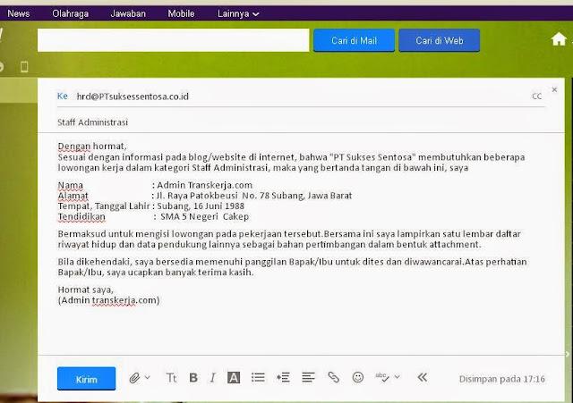 download contoh surat lamaran kerja via email