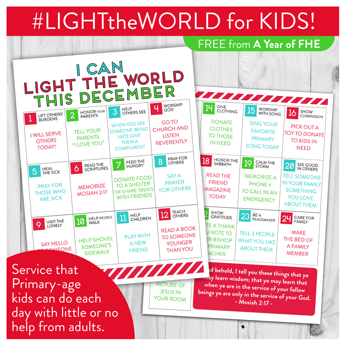 FREE DOWNLOAD // A great Service Calendar from the #LIGHTtheWORLD campaign made especially for KIDS!  Each day has a simple task that Primary-age children can do with little or no help from adults.  What a great way to get small kids involved! #LDS