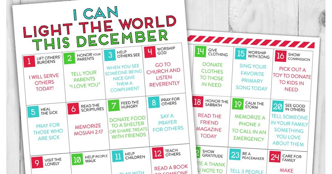 Light The World 2022 Calendar.A Year Of Fhe Free Download Lds Light The World Service Calendar For Kids