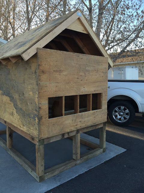 Nesting Boxes from the Outside of the Pallet Chicken Coop