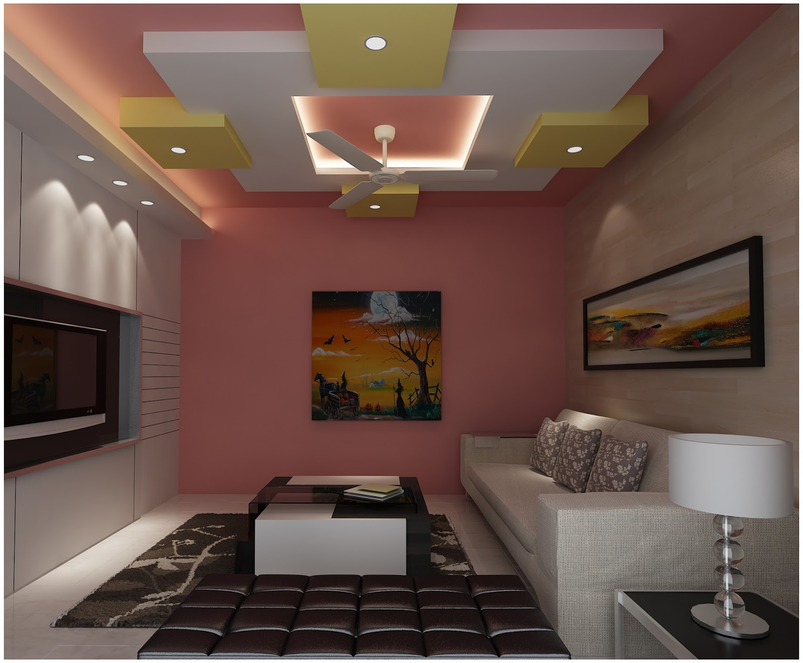 Pop false ceiling designs and pop wall art designs for interior - Living room design for apartment ...