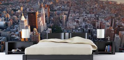 sovrumstapet new york stad utsikt skyskrapor 3d fototapet