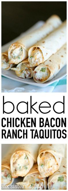 BAKED CHICKEN BACON RANCH TAQUITOS #chicken #chickenroasted #bacon #baconranch #taquitos #dinnerideas #dinnerrecipes