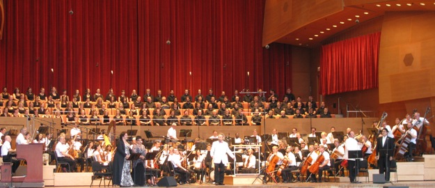 Grant Park Orchestra and Grant Park Chorus performing at the Jay Pritzker Pavilion in Millennium Park in Chicago, Illinois, for the Grant Park Music Festival