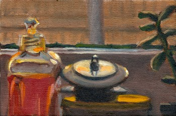 Oil painting of two sink plugs on top of a round container with a yellow lid, with a plastic detergent bottle on the left and a succulent plant on the right.