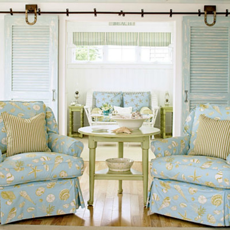 Slipcovered shabby chic beach house