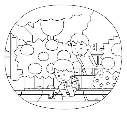 あじさいと女の子と男の子のぬり絵(シンプル)