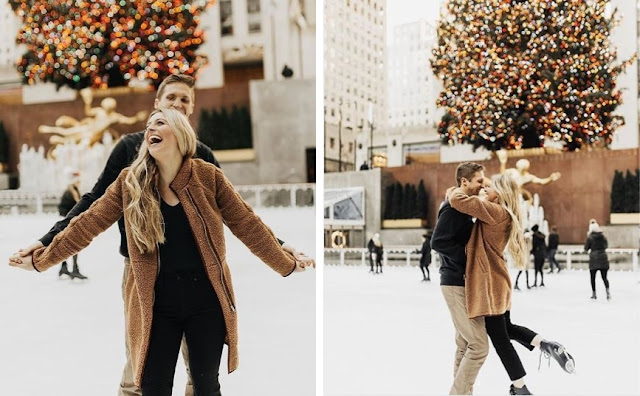 Romantic couple photoshoot on icerink in Central Park, New York by Kierstin Jones.