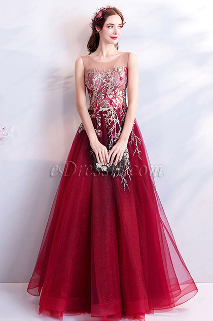 burgundy embroidery sleelveless prom party dress