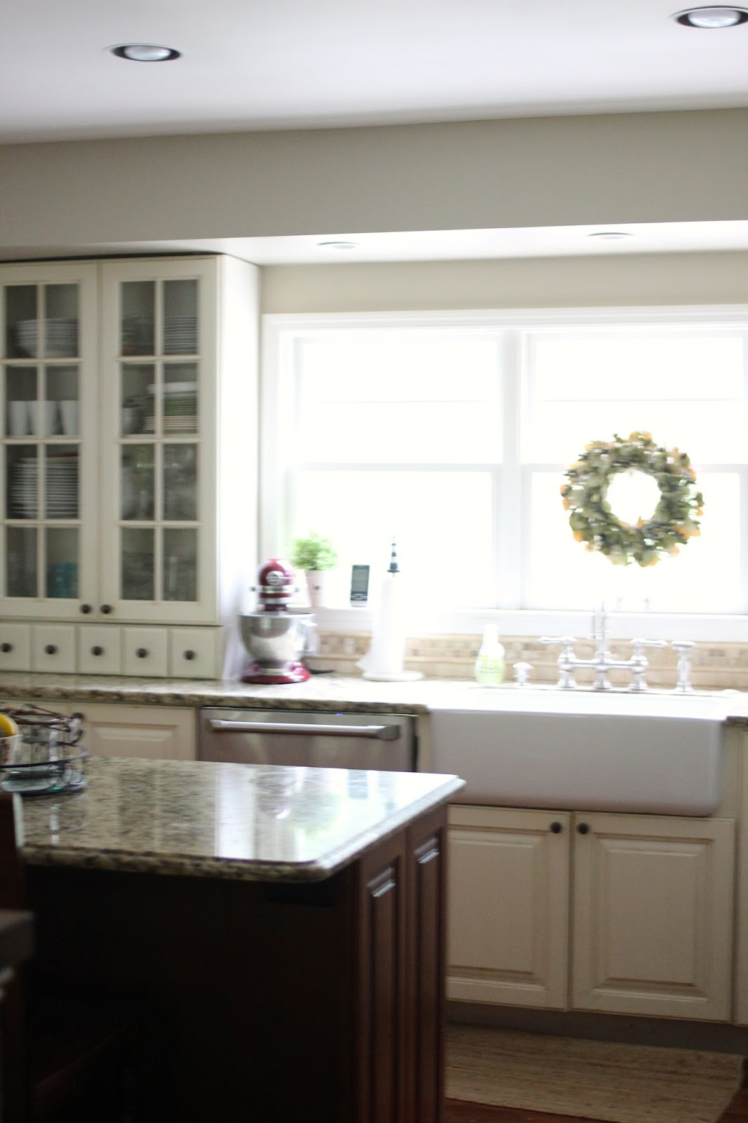 Shaw Farm Sink With Wreath Above And Behr Castle Path Paint Www Goldenboysandme