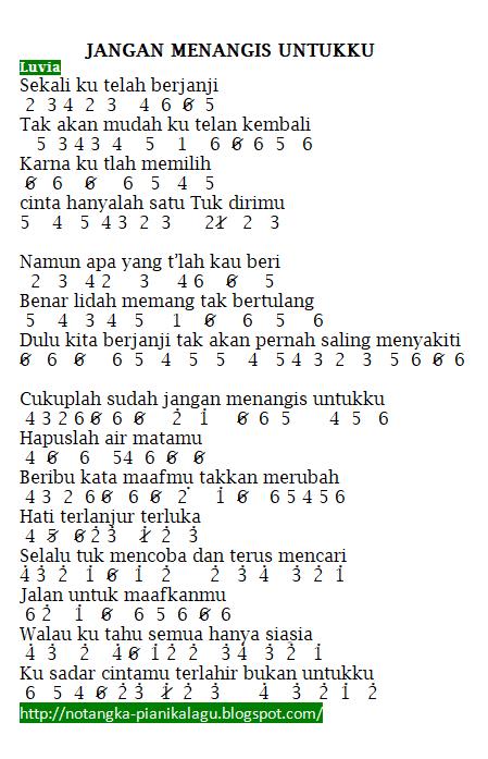 Lirik Lagu Jangan Menangis Untukku : lirik, jangan, menangis, untukku, Angka, Pianika, Jangan, Menangis, Untukku, Luvia