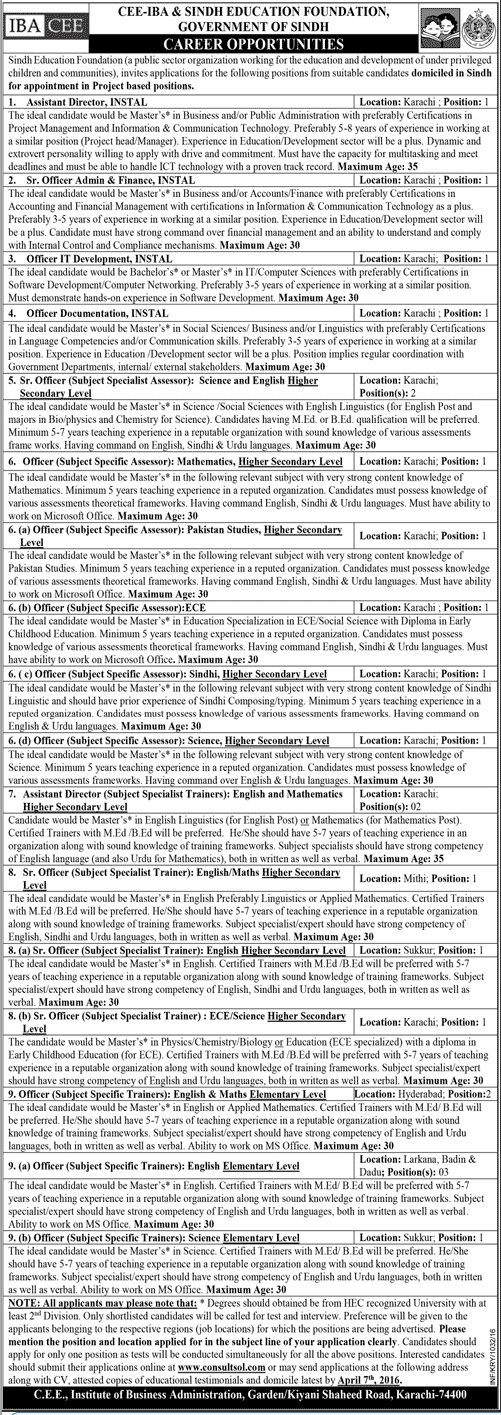 CEE IBA & Sindh Education Foundation Jobs in Karachi