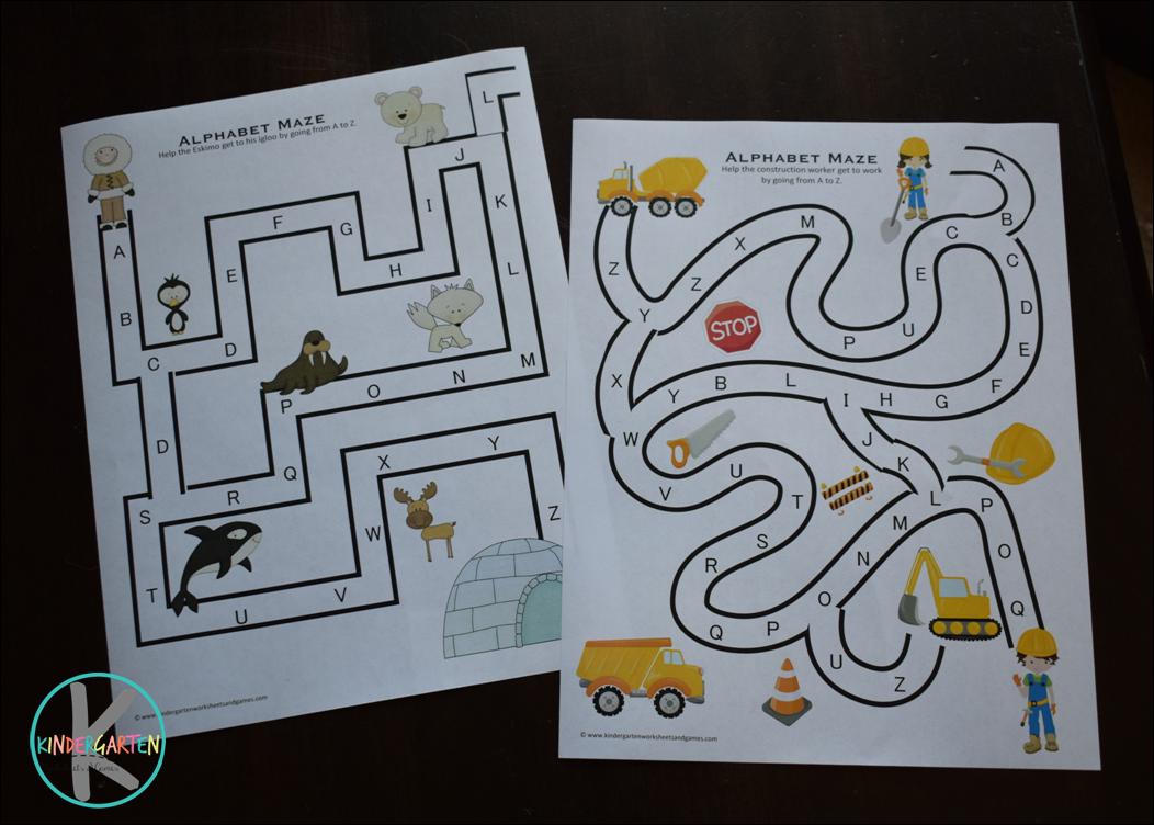 Kindergarten Worksheets and Games: FREE Alphabet Mazes
