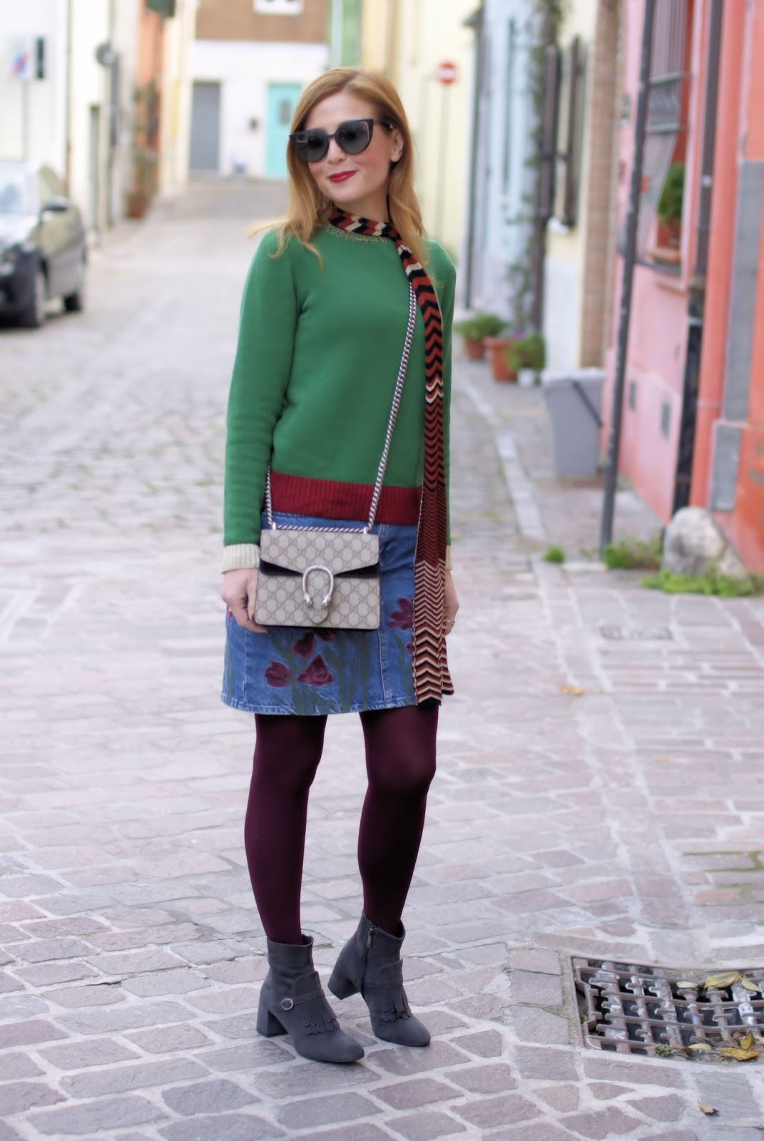 How to wear a denim mini skirt in Winter, Gucci Dionysus bag on Fashion and Cookies fashion blog, fashion blogger style