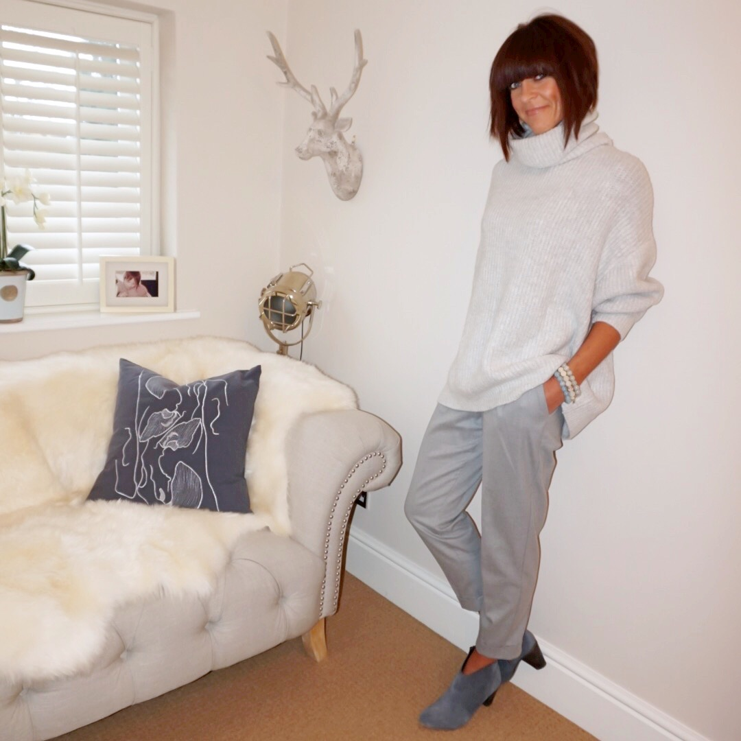 My midlife fashion, zara oversized roll neck jumper, hush thornton ankle boots, mango front pleated trousers