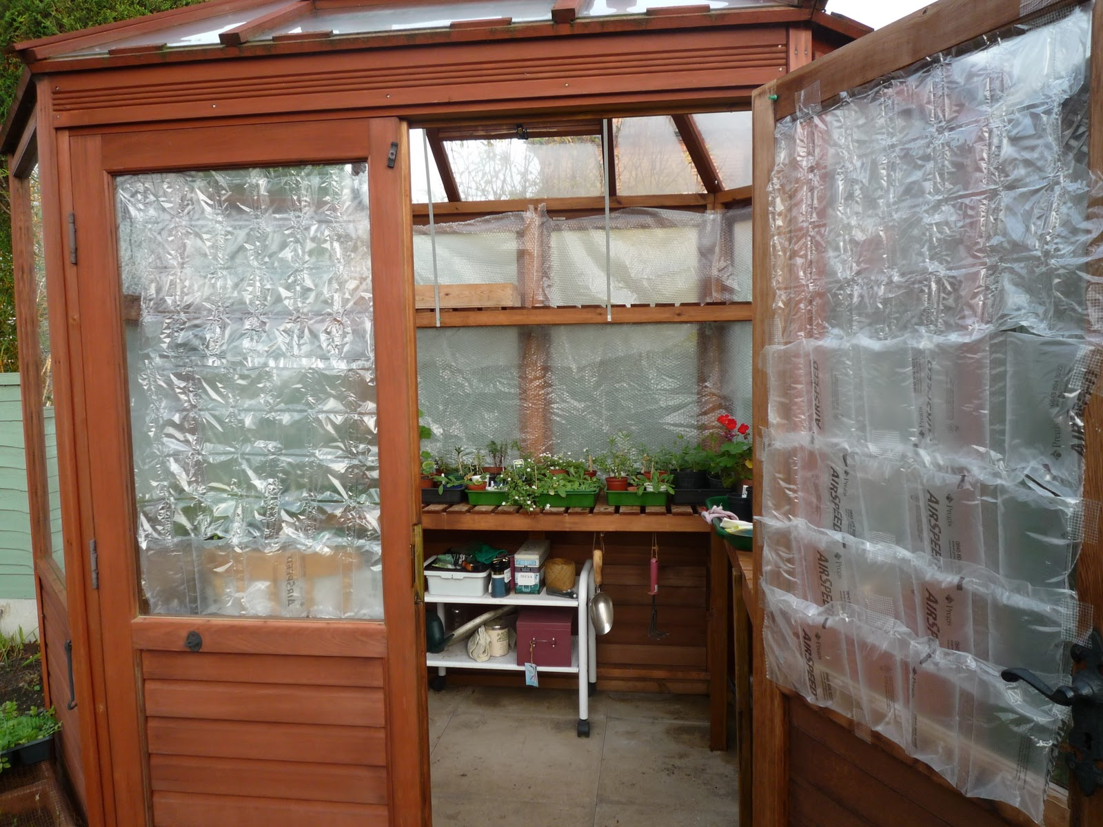 Bubble Wrapped Insulated Greenhouse
