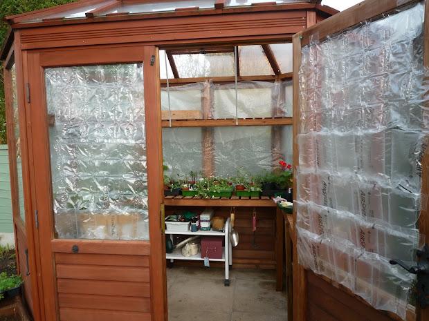 Bubble Wrap Greenhouse Interior Winter Insulation