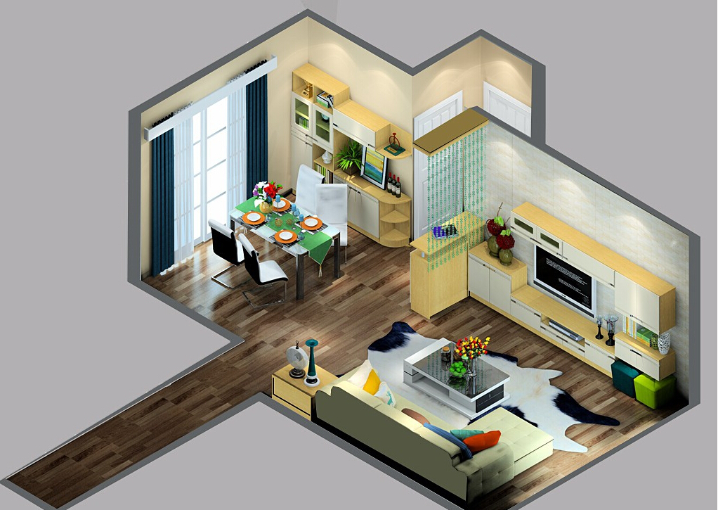 Danish-living-dining-room-interior-layout-overlooking 35 Sky View 4D American House Plan Styles Interior