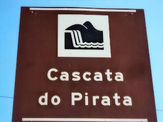 """Placa """"Cascata do Pirata"""" na Estrada de São Joaquim para Bom Jardim da Serra"""