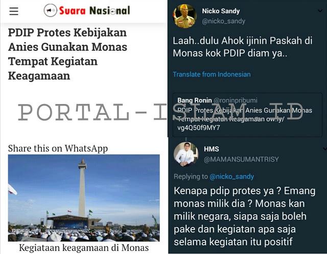 PDI P Protes Saat Anies Gunakan Monas Untuk Acara Keagamaan, Netizen: Emang Monas Punya PDI P??